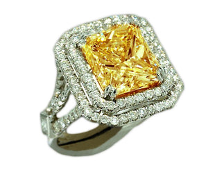 Yellow canary princess diamond women engagement ring white gold 14K 5 Carat