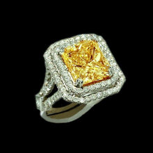 Load image into Gallery viewer, Yellow canary princess diamond women engagement ring white gold 14K 5 Carat