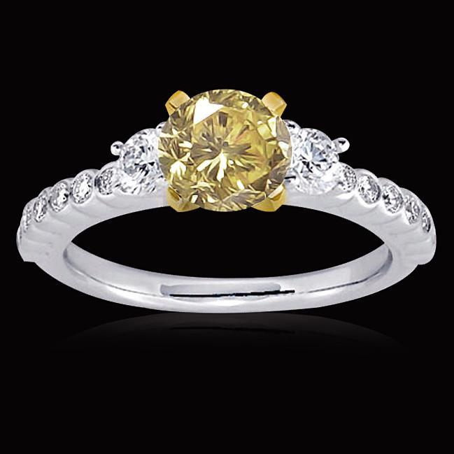 Three stone 2.75 carat yellow & white diamonds wedding anniversary ring