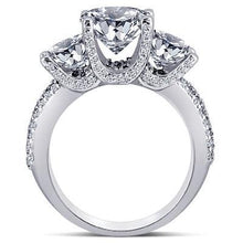 Load image into Gallery viewer, Three stone engagement ring pave diamonds 3.31 carat gold white 14K