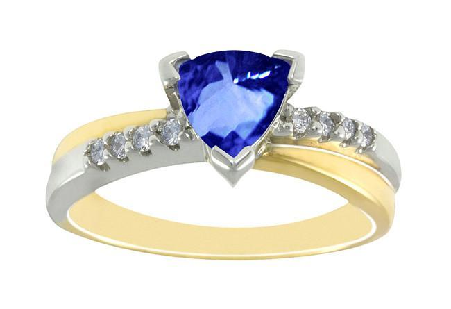 Two tone gold 2.61 carat trillion AAA tanzanite & round diamonds rin