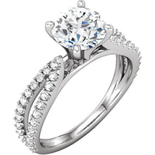 Load image into Gallery viewer, White gold 1.97 carat round brilliant diamonds solitaire with accents ring