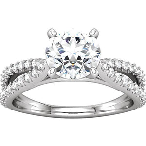 White gold 1.97 carat round brilliant diamonds solitaire with accents ring