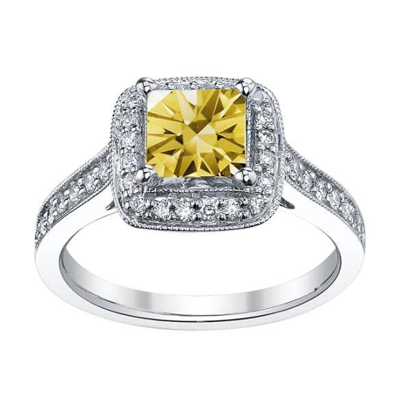 White gold 14K 1.51 carats yellow canary princess halo diamond anniversary ring