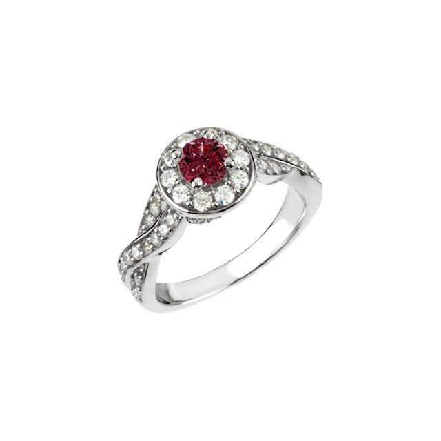 White gold 14K 1.86 carats red round halo Ruby engagement ring
