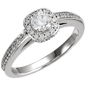 White gold 14K 1.91 carat round diamonds solitaire with accents ring