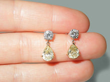 Load image into Gallery viewer, White gold 14K 3.50 carat yellow pear diamond dangle pair earrings women jewelry