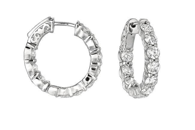 White gold 14K round brilliant 4 carat diamond 20 pointer hoop earring jewelry