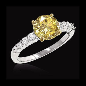 Yellow canary 3.05 carat diamonds wedding anniversary fancy ring two tone gold 14K