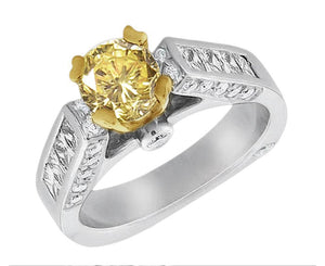 Yellow canary diamonds engagement fancy ring 2.51 carat ring
