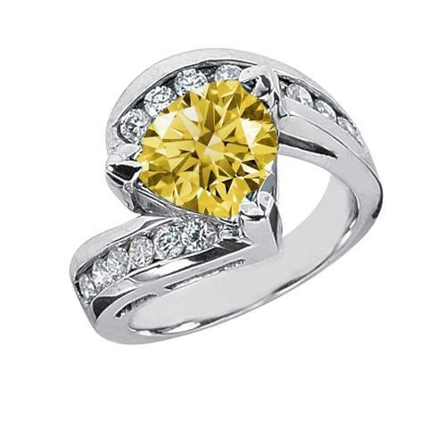 Yellow canary halo trillion diamond 1.81 carats anniversary ring gold white 14K