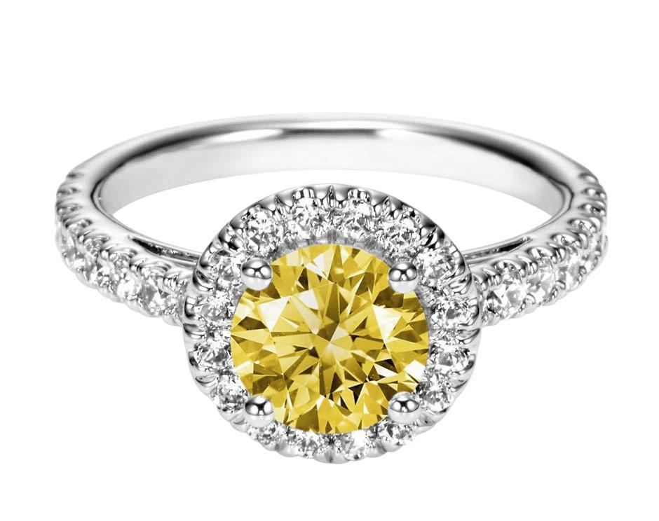 Yellow canary round halo diamond 3.01 carats engagement ring white gold 14K new