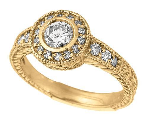 Yellow gold 18K diamonds 0.80 carat bezel anniversary fancy ring jewelry