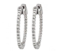 Load image into Gallery viewer, White gold 14k diamonds earring 1.25 carat diamond hoop earrings