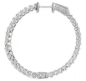 White gold 14k diamonds earring 1.25 carat diamond hoop earrings