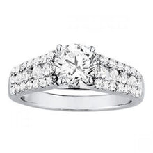 Load image into Gallery viewer, White gold 14K ROUND diamonds 2 carats solitaire with accents ring
