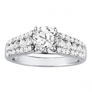 White gold 14K ROUND diamonds 2 carats solitaire with accents ring