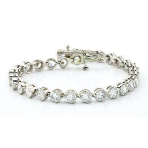 White gold 14k prong diamonds basic tennis bracelet 10 carats