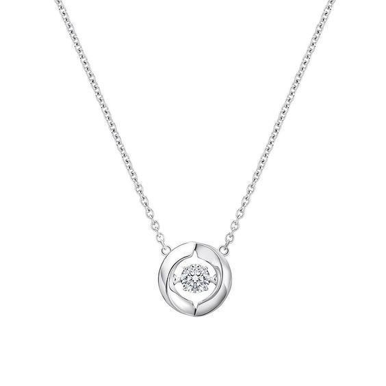 Women 14K White gold round cut diamond fine necklace pendant 0.50 carats