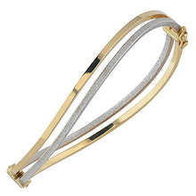 Load image into Gallery viewer, Kooljewelry 10k Two-Tone Gold 6mm Polish And Glass Blast Finish Twist Bangle Bracelet