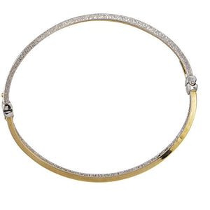 Kooljewelry 10k Two-Tone Gold 6mm Polish And Glass Blast Finish Twist Bangle Bracelet