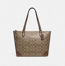 Load image into Gallery viewer, COACH ZIP TOP TOTE IN SIGNATURE CANVAS, F29208, KHAKI SADDLE, Medium