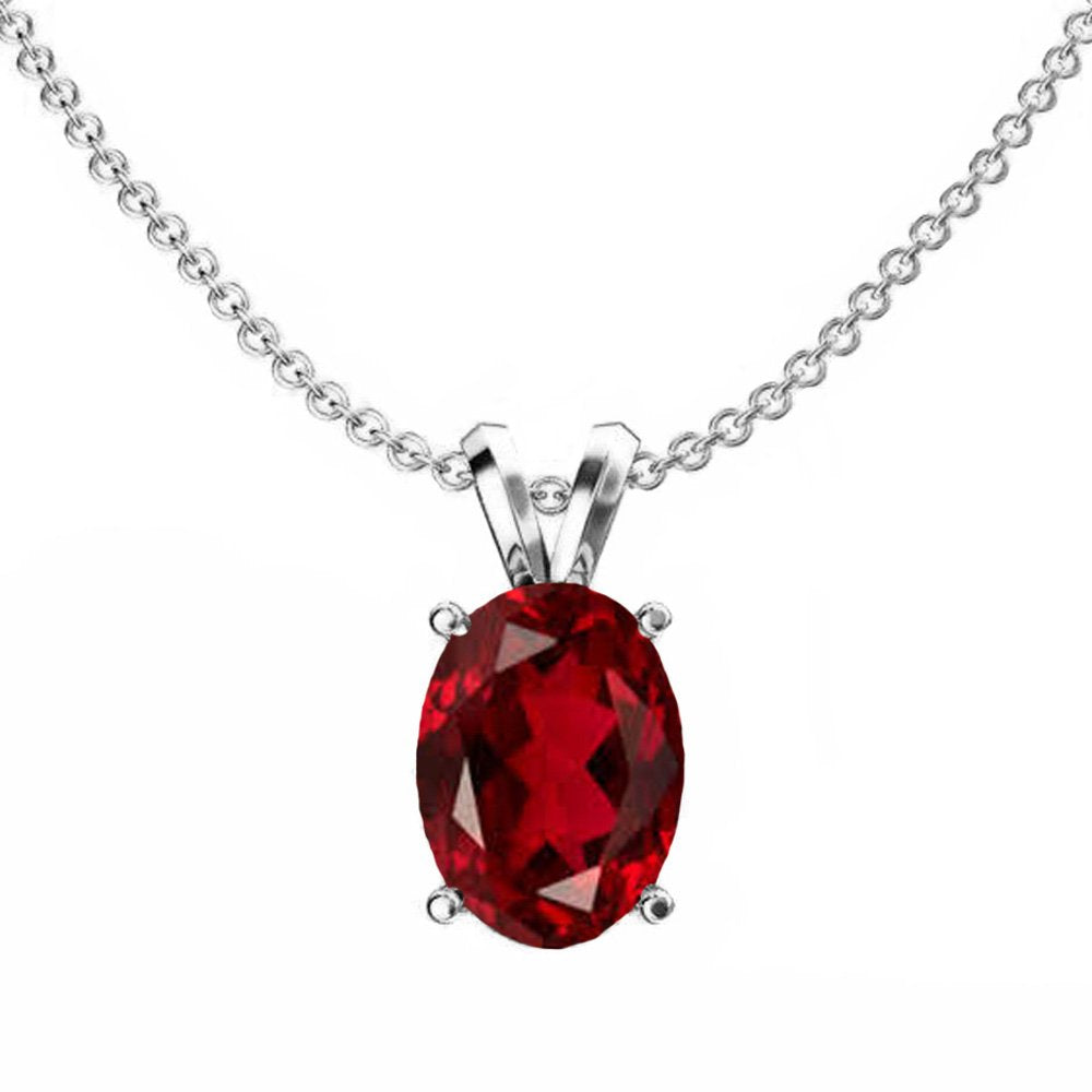 Dazzlingrock Collection 14K 9x7 mm Oval Cut Garnet Ladies Solitaire Pendant (Silver Chain Included), White Gold