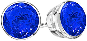 4 Carat Total Weight Sapphire Solitaire Stud Earrings Pair 14K White Gold Popular Premium Collection Bezel Push Back