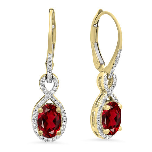Dazzlingrock Collection 14K Oval Garnet & Round White Diamond Ladies Infinity Dangling Earrings, Yellow Gold