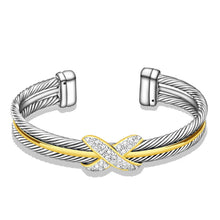 Load image into Gallery viewer, UNY Fashion jewelry Brand Cable Wire Retro Antique Bangle Elegant Beautiful Valentine Mothers day Gift (TWO TONE)