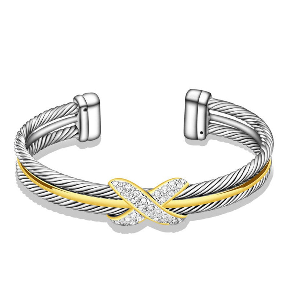 UNY Fashion jewelry Brand Cable Wire Retro Antique Bangle Elegant Beautiful Valentine Mothers day Gift (TWO TONE)