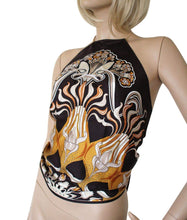 Load image into Gallery viewer, Gucci Bamboo Multi Color Floral Silk Scarf Halter Top Blouse 263334 7064