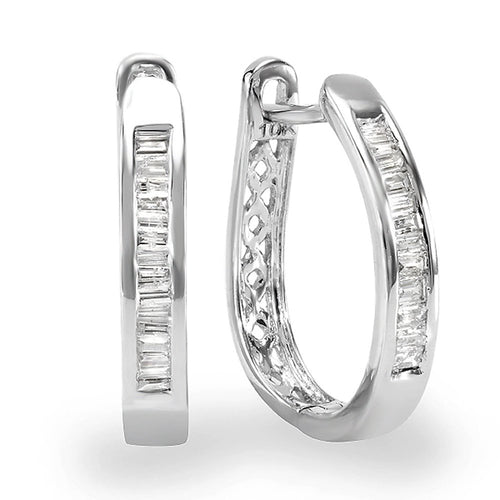 Dazzlingrock Collection 0.20 Carat (ctw) 10K Baguette Cut Diamond Ladies Hoop Earrings 1/5 CT, White Gold