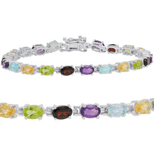 Load image into Gallery viewer, 10ct TGW Multi Gemstone Tennis Bracelet in Sterling Silver