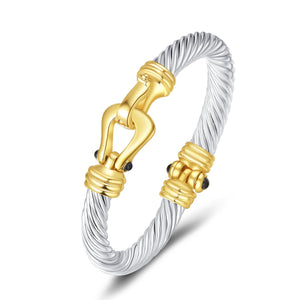 UNY Fashion Designer Brand Inspired Jewelry Horse Shoe Cable Wire Vintage Bangle Bracelet Beautiful Gifts (Two Tone)