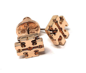 Tory Burch T Logo Small Stud Earrings Rose Gold
