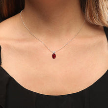 Load image into Gallery viewer, Dazzlingrock Collection 14K 9x7 mm Oval Cut Garnet Ladies Solitaire Pendant (Silver Chain Included), White Gold