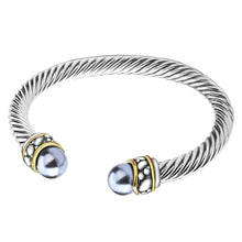 Load image into Gallery viewer, UNY Twisted Cable Wire Cuff Bangles Imitation Pearl Bracelet Bangle for Women Fashion Jewelry