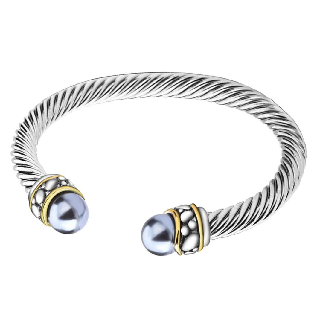 UNY Twisted Cable Wire Cuff Bangles Imitation Pearl Bracelet Bangle for Women Fashion Jewelry