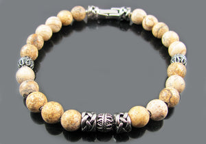 Blackjack Jewelry Mens Genuine Semi Precious Natural Jasper Stone Stainless Steel Bead Bracelet (Tan (Jasper Stone))