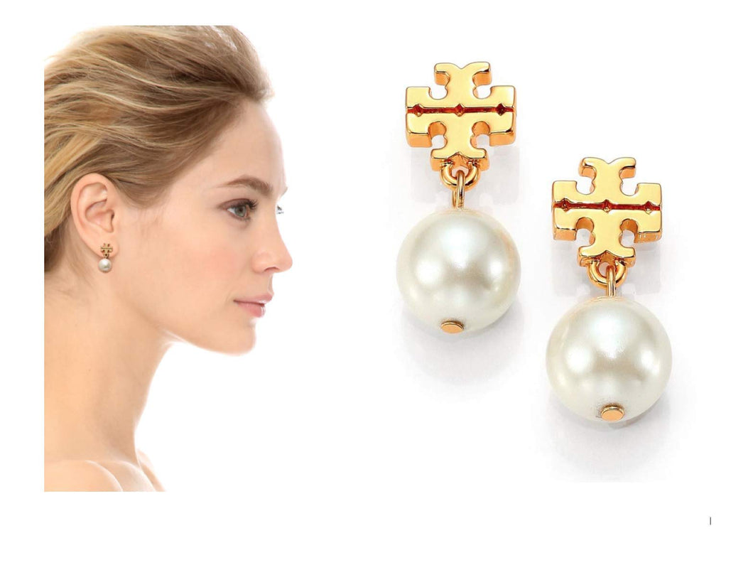 Tory Burch Logo Pearl Drop Earrings