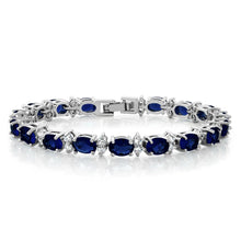 "Load image into Gallery viewer, Gem Stone King 20.00 Ct Gorgeous Oval and Round 7"" Sparkling Cubic Zirconia CZ Tennis Bracelet"