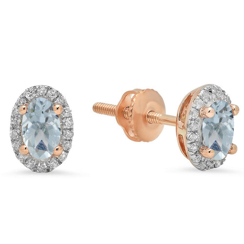 Dazzlingrock Collection 10K Oval Cut Aquamarine & Round Cut White Diamond Ladies Halo Stud Earrings, Rose Gold