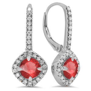 Dazzlingrock Collection 14K Round Cut Ruby & White Diamond Ladies Halo Style Hoop Earrings, White Gold