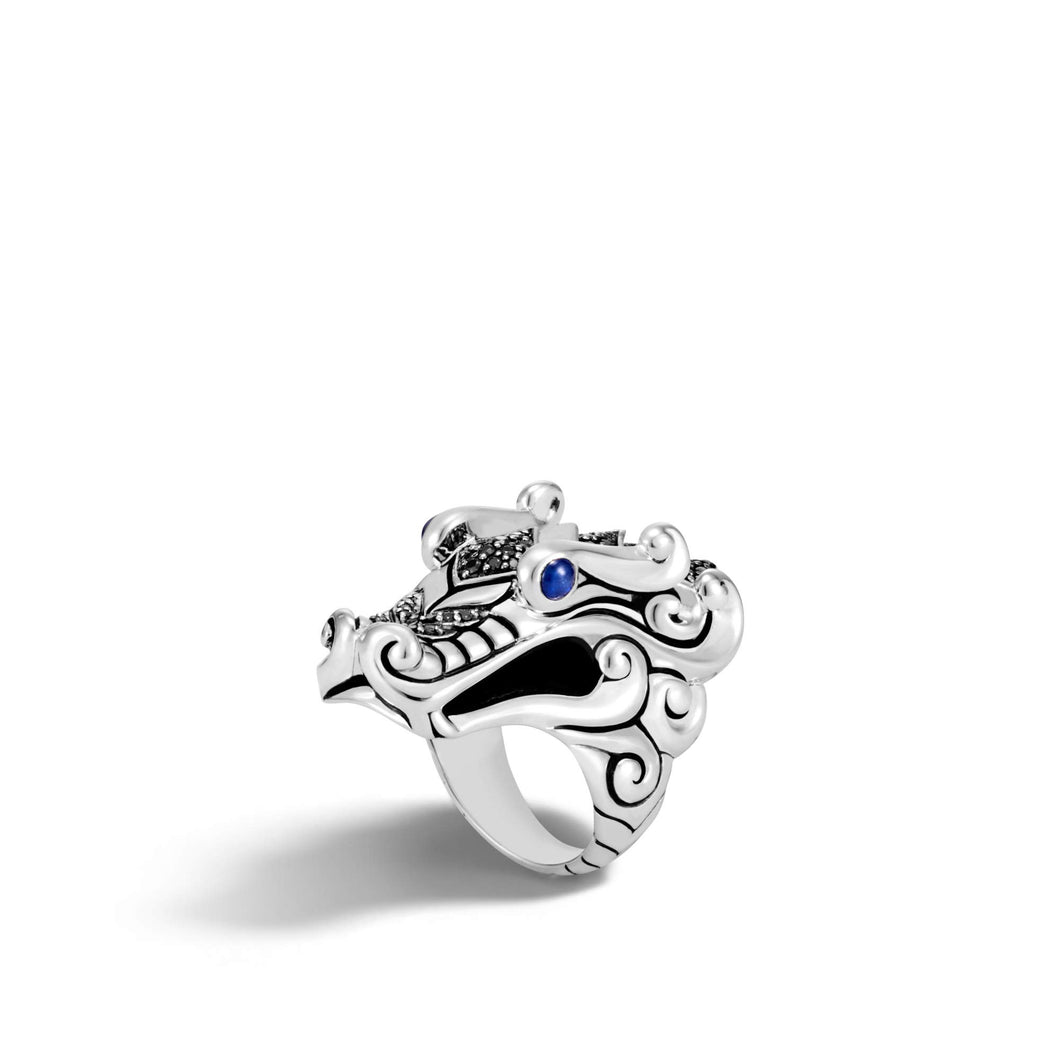 John Hardy Women's Legends Naga Silver Ring with Black Sapphire, Black Spinel and Blue Sapphire Eyes, Size 8