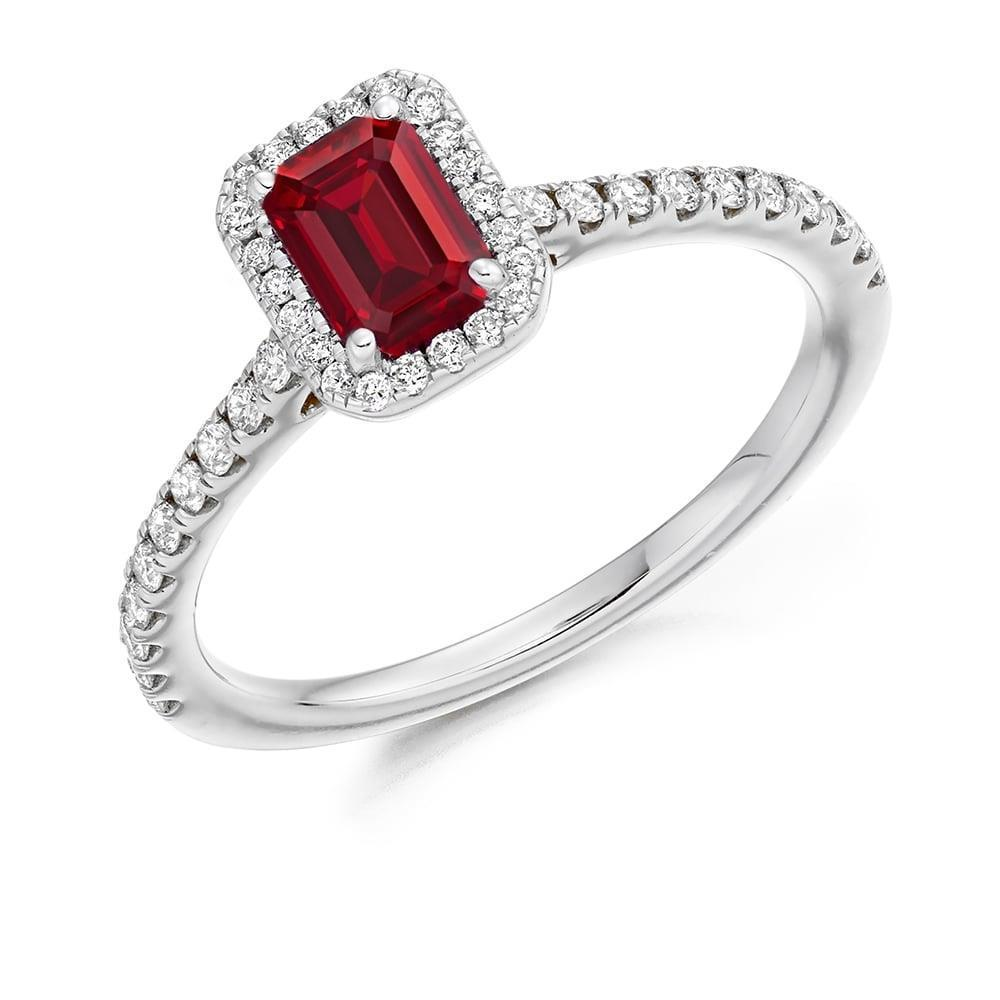 White gold 14k prong set 2.30 carats ruby with diamonds Wedding ring