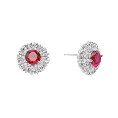 White gold 14k round cut ruby with diamonds 4.70 carats studs earrings