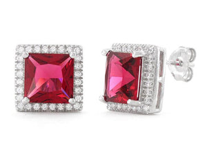White gold 14k prong set 7.20 carats ruby with diamonds studs earrings