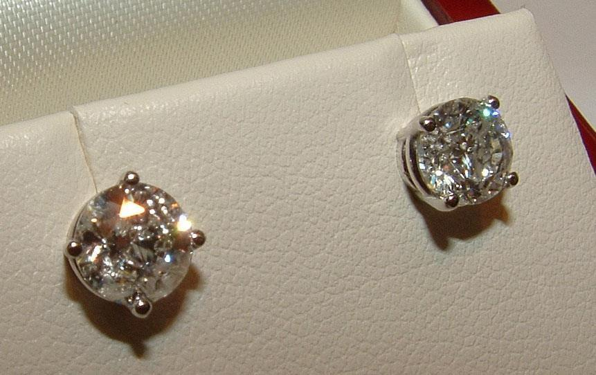 STUD EARRINGS 1.42 CT White Gold diamond earring ROUND DIAMOND