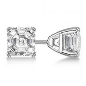 white gold 14k 2 ct. Solitaire Asscher cut prong set diamond earring